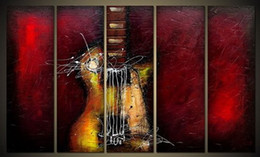 $enCountryForm.capitalKeyWord Canada - Guitar Passion Large Modern 5 Panels 100% Hand Painted Framed Abstract Music Oil Paintings on Canvas Wall Art Ready to Hang
