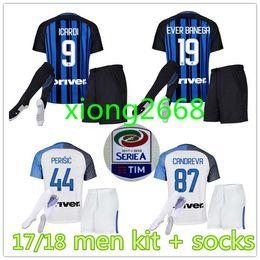 online shopping 2017 inter home kits Soccer jersey CANDREVA ICARDI EDER  KONDOGBIA PERISIC Milan full Set c6d430501