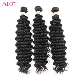 Wave Human Hair Bundles Canada - ALOT Human Hair Bundles Brazilian Indian Peruvian Malaysian Virgin Hair Deep Wave 3 Bundles 100% Unprocessed Human Hair Extensions 8-28inch