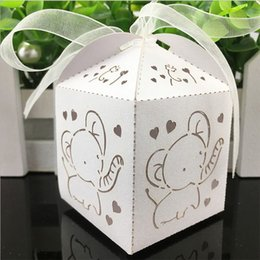Barato Laser Cut Favores Box-10pcs Elephant Laser Cut Oco Carriage Favors Box Presentes Candy Boxes Com Fita Baby Shower Wedding Event Party Supplies