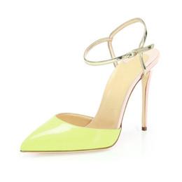 a72cc2997f32 Zandina Womens Ladies Fashion Handmade 10cm Slingback High Heel Sandals  Party Evening Dressing Stiletto Shoes Lemon