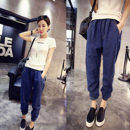 navy blue trousers women Canada - Hot Fashion Nine Points Harem Pants Jeans Casual Loose Waist Women's Jeans Navy Blue Trousers 9126
