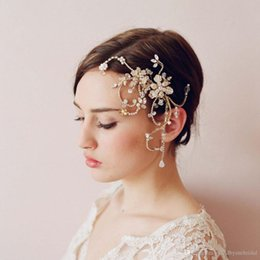 Barato Diamante Pérola Tiaras-TwigsHoney 2017 Hot Bridal Headbands Bohemian Diamond Crystal Pearl Ornaments Acessórios para cabelo 100% ReaL Images Rose Gold Tiaras