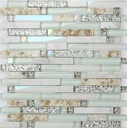light green glass mix mosaic tileshot sale rainbow color waterproof kitchen bathroom wall decor shell mosaic tileslsbk55
