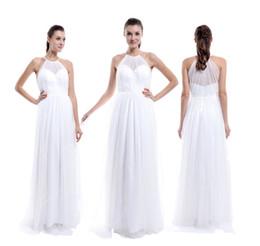 $enCountryForm.capitalKeyWord NZ - Hot Sale Real Pictures Tulle Bridesmaid Dress, Halter Sheer Neck Soft Tulle Wedding Dress Tulle Evening Dress Floor Length