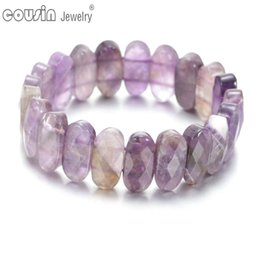 natural crystal bracelets Canada - SZ0451i Fashion High Quality Charm Natural Crystal Stone Men Bracelet Rhombus Beaded Bracelets&Bangles For Women Jewelry