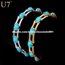 $enCountryForm.capitalKeyWord Canada - U7 New Fashion Turquoise Bracelets For Women Gold Plated 10 MM Wide Chain Turkey Stone Bracelets & Bangles Jewelry H340