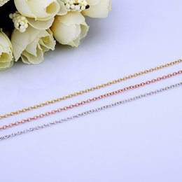 Plated Rose Gold Jewelry Wholesale Canada - High Quality Rolo Link Chains 1.5mm 18 inch Chain fit DIY Necklaces fine Jewelry 18K Gold   Rose Gold   925 silver platinum plated