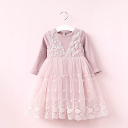 HigH kids clotHes online shopping - Girl Dress Autumn Girl Prince Dress Kids Long Sleeve Lace Dress High grade Dresses Party Clothing