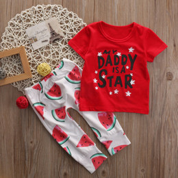 $enCountryForm.capitalKeyWord Canada - 2pcs Newborn Kid Toddler Baby Boy Clothes T-shirt Watermelon Pants Set Outfits Kids Clothing Sets Wholesale Letter Red Tees Trouser 0-24M