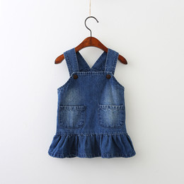 Robes Pour Bébé Bleu Pas Cher-Autumn Baby Girls Denim Robes Kids Girls Mode Robe Blue Dress Girl Autumn Ruffles Suspender Dress 2017 vêtements pour enfants