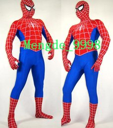 Barato Lycra Spandex Terno Vermelho-Unisex Fancy Spiderman Costumes Red / Blue Lycra Spandex Spiderman Hero Catsuit Trajes Outfit Unisex Spider Suit Halloween Cosplay Suit M121