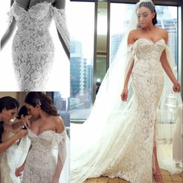 Enveloppement En Dentelle Détachable Pas Cher-Gorgeous Perles Robe de mariée en dentelle avec enveloppe détachable Sweetheart-Neck Applique Front Split Robe de mariée Sexy Luxury Mermaid Wedding Gowns