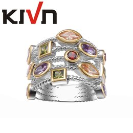 Rope Wedding Rings Canada - KIVN Fashion Jewelry Rope Multicolor CZ Cubic Zirconia Bridal Engagement Wedding Ring Bands for Women Birthday Christmas Gifts