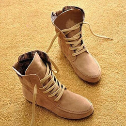lace up flat boot NZ - Martin Boots For Women Nubuck Leather Pure Color Bottine Femme Lace Up Autumn Spring Ankle Boots Woman Round Toe Flat Shoes