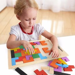 Discount tetris jigsaw puzzle Hot! Children Wooden Puzzles Toy Tangram Brain Teaser Puzzle Toys Tetris Game Educational Kid Jigsaw Board Toy Gifts TY2078