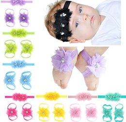Barato Cabelo De Três Flores-2017 New Fashion Baby Girl Headbands Feet Flower Conjuntos de três peças Beading Gauze Hair band Children Hair Accessories H019