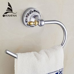 2017 brass chrome bath accessories blue white porcelain brass towel ring towel holder ceramic
