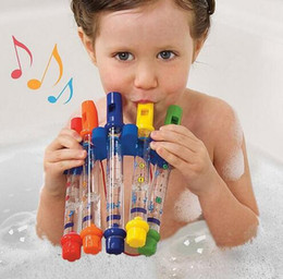 Toys Water Sound Baby NZ - 3ROW lot (5pcs row) Water Flute Toy Kids Children Colorful Water Flutes Bath Tub Tunes Toys Fun Music Sounds Baby Shower Bath Toy