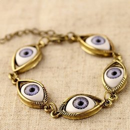 devil alloys Canada - Eyes Bracelet Fashion Punk antique silver and antique bronze Alloy Bangle Vintage Devil Eyes Charm Bracelets women jewelry DHL Free Shipping