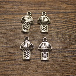 50pcs-- 12x21mm secchio di giardinaggio w / strumenti charms argento antico secchio pendenti di fascini