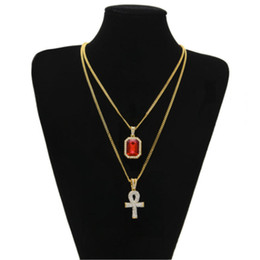 $enCountryForm.capitalKeyWord Canada - 2017 New Hip Hop Egyptian Iced Out Key of Life Ankh Cross Pendant Necklace with Ruby Pendant Necklace Set Mens Jewelry gifts