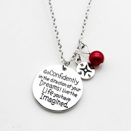 Letter D Pendant Australia - Round Letter Pendant Necklace Go Confidently In The Direction Of Your Dreams Live The Life You Have Imagined Imitation Pearl LM-N260
