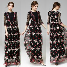 Manches Vintage Maxi Pas Cher-Black New Arrival 2017 Autumn Women's O Neck Half Sleeves Broderie Designer Elegant Maxi Runway Dresses