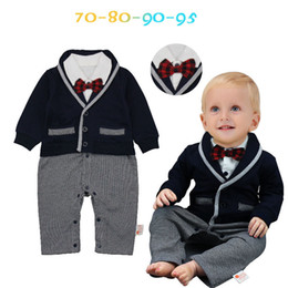 La Manera De La Calidad Arropa La Ropa Al Por Mayor Baratos-Baby Boys Gentleman Rompers Cheap Kids Clothes Wholesale 100% Cotton Long Sleeves Autumn Warm Jumpsuit Diseño de moda de alta calidad