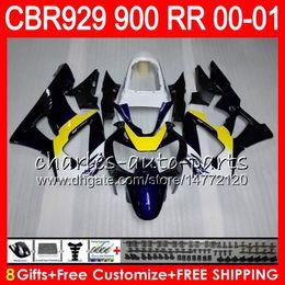 $enCountryForm.capitalKeyWord Canada - Body For HONDA CBR 929RR CBR900RR CBR929RR 00 01 CBR 900RR Blue yellow 67HM16 CBR929 RR CBR900 RR CBR 929 RR 2000 2001 Fairing kit 8Gifts