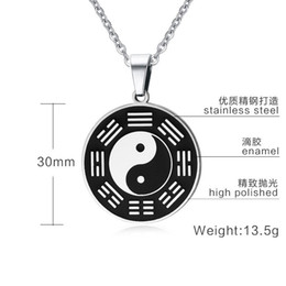 Security Pendant Australia - Stainless Steel Yin Yang Circle Metal Tag Pendant Necklace China Tai Chi Bagua Pendant Lucky Security and Peace Jewelry