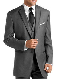Tie For Gray Suit NZ - men suits 3 piece wedding suits for men charcoal gray tuxedos for men notched lapel groom wedding suits groomsmen suit jacket+pants+vest+tie
