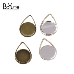 $enCountryForm.capitalKeyWord Canada - BoYuTe 40Pcs 12MM Waterdrop Shaped Cabochon Base Setting Antique Bronze Silver Plated Pendant Bezel Blank Tray Diy Jewelry Accessories