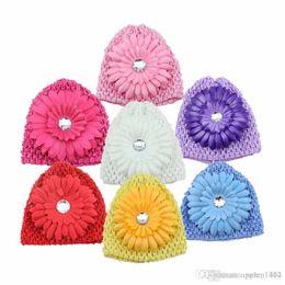 Baby Girl Crochet Patterns NZ - 2016 Autumn Winter Crochet Headband Pattern Girls Hat Baby Chrysanthemum Hair Caps Warm Kids Hair Band Accessories Tube Hat Flower HT02