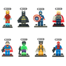iron man block figure Canada - DHL 60sets Mini Super Heroes figure Hulk Batman Spiderman Wolverine Deadpool Robin Iron Man Thor Building Blocks Toys MR138