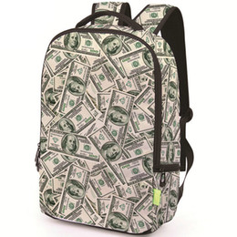 Backpack pictures online shopping - 100 dollar backpack Money scrawl daypack Picture schoolbag Casual rucksack Sport school bag Outdoor day pack