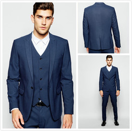 Barato Gravata Azul Escuro Da Veste-Casacos de casamento azul escuro Handsome One Button Mens Ternos Slim Fit Groom Tuxedos Custom Made Formal Prom Suit (Jacket + Pants + Vest + Tie) 2017