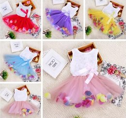 Wholesale colorful straight dresses for sale – plus size ins girls Princess flower dress D rose flower baby girl tutu dress with colorful petal lace dress Bubble Skirt baby clothes