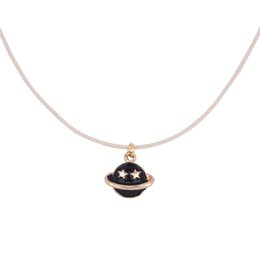 China Wholesale-8SEASONS Flesh-colored Wax Rope Gold-plated Black   White Enamel Saturn Pendant Lobster Clasp Extend Chain Necklace About 45cm cheap flesh colored suppliers