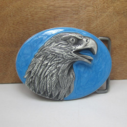 enamel belt buckles 2019 - BuckleHome eagle belt buckle with pewter finish with blue enamel FP-02636 with continous stock free shipping cheap ename