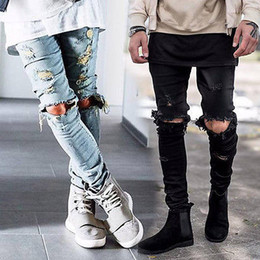 Jeans Motards Gros Pas Cher-Wholesale-Mens Ripped Skinny Straight Slim Elastique Denim Fit Biker Jeans Pantalons Longs Pantalons Straight Straight Slim Fit Jeans