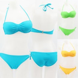 Barato Bikinis Coreia-Estilo Coreano Underwired Push Up Cup Biquíni Sexy Slim Fit Lady Spa Candy Colors Conjunto de Biquíni de banho