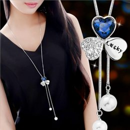 chains hang clothes Canada - Diamond clover necklace 2-color crystal optional Jewelry For Women Clothing accessories Fashion hanging chain Craft necklace free shipping