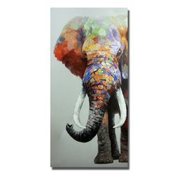 Africa Animals Canada - Top quality cartoon animal elephant oil painting africa wild animal wall pictures for thai restaurant decoration