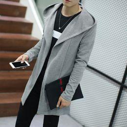 $enCountryForm.capitalKeyWord NZ - Mens Sweater 2016 New Plus Size Autumn Slim Fit Cardigan Men Simple Hooded Casual Sweater Men Long Mens Cardigans 4Colors 5XL-M