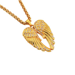 $enCountryForm.capitalKeyWord NZ - Fashion Men Filling Pieces Angel Wings Pendant Hip Hop Gold Necklaces Long Chain Design Jewelry Necklace Best Friend Gift