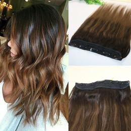 Clip Highlighted Hair Pieces NZ - One Piece Clip In Human Hair Extensions 5Clips Per Piece Brazilian Virgin Hair Highlight Ombre Medium Brown Balayage 2 8