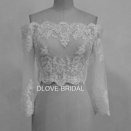 Barato Casacos Brancos Fora Do Casamento-Romântico Off the Shoulder Lace Appliques Casaco de noiva 3/4 de manga comprida Branco Marfim Wedding Bolero Custom Made Real Photo Bridal Accessory