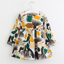 Linen dress for kids online shopping - Girls Dress New Autumn England Style Girls Clothes Long Sleeve Cartoon Forest Animals Graffiti for Kids Dresses