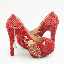 4c55887c410a 5 8 11 14CM Red Pearls Phoenix Tassel Cinderella Shoes Hand-made Prom  Evening High Heels Beading Rhinestones Bridesmaid Wedding Shoes 145